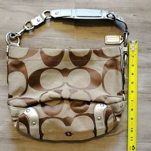 Coach Large Tan & Brown with Silver straps